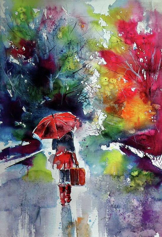 Girl Art Print featuring the painting Walk Alone 1 by Kovacs Anna Brigitta
