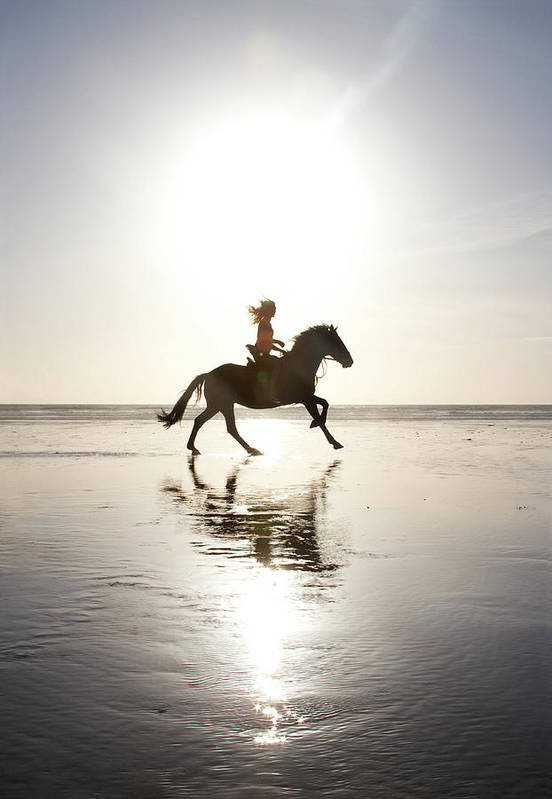 Horse Art Print featuring the photograph Teenage Girl Riding Horse On Beach by Jo Bradford / Green Island Art Studios