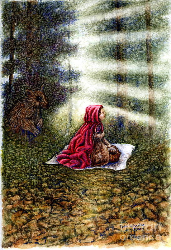 Girl In Forest Art Print featuring the painting The Fate Of Little Red Riding Hood Part Two by Karen Wheeler