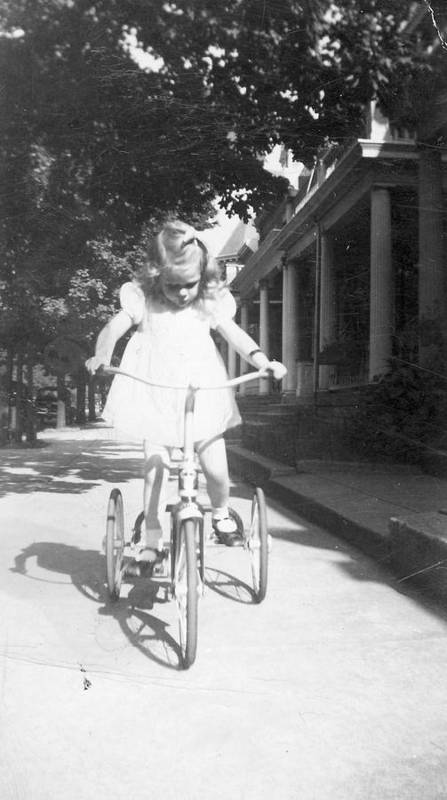 Bike Art Print featuring the photograph Little Girl On Vintage Bike by Cheryl Viar