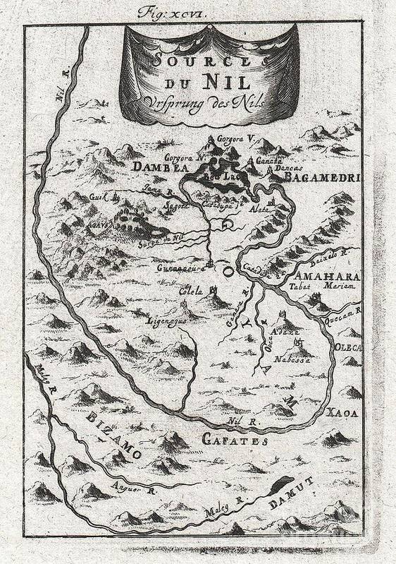 A Stunning And Surprisingly Accurate 1719 Map Of The Source Of The Nile By Alain Manesson Mallet. Details What Is Today The Gojjam (goyam On Map) District Of Ethiopia Around Lake Tana (here Bed Lac Or Dambea). Accurately Describes The Course Of The Blue Nile As It Flows Southward From The Southeastern Corner Of Lake Tana Before Hooking Around To The West And Flowing Northwards Toward Its Convergence With The White Nile And Art Print featuring the photograph 1719 Mallet Map Of The Source Of The Nile Ethiopia by Paul Fearn