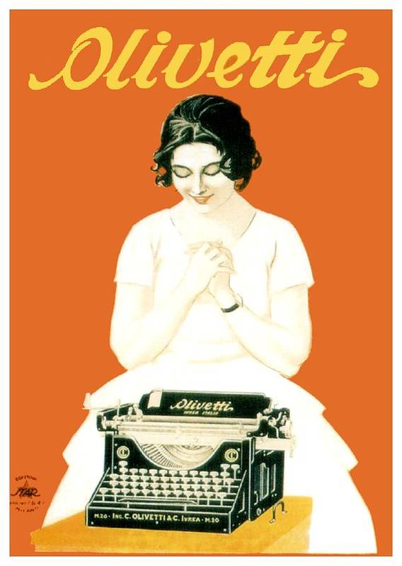 Magazine Art Print featuring the digital art 1924 - Olivetti Typewriter Advertisement Poster - Color by John Madison