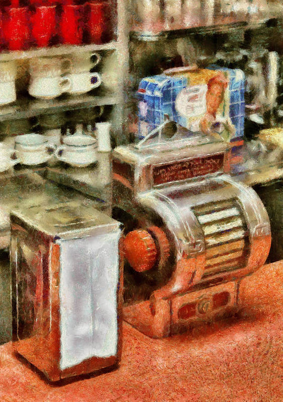 American Diner Art Print featuring the photograph 1950's - The Greasy Spoon by Mike Savad
