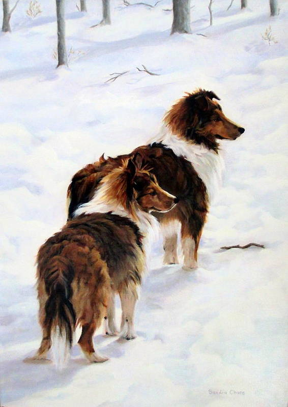 Dog Art Print featuring the painting The Little Sentinels by Sandra Chase