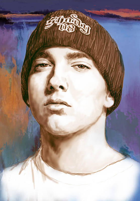 Art Drawing Sharcoal.ketch Portrait Print featuring the drawing Eminem - Stylised Drawing Art Poster by Kim Wang