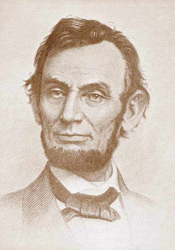 Abraham Lincoln; Abraham; Lincoln; Portrait; 16th; President; United; States; America; American; Us; U.s.; Usa; U.s.a.; 19th; Nineteenth; Century; Illustration Art Print featuring the drawing Abraham Lincoln by American School