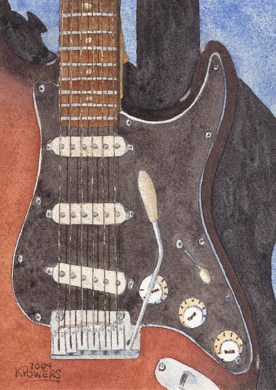 Guitar Art Print featuring the painting American Standard Two by Ken Powers