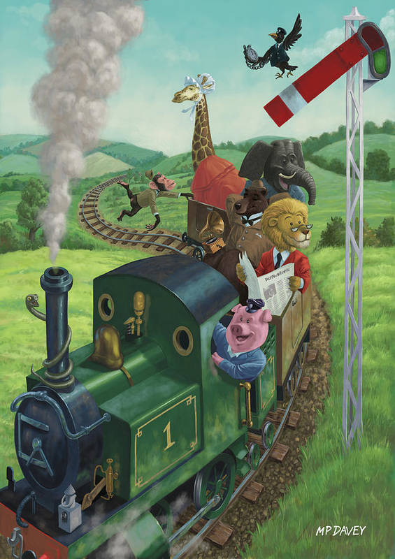 Animal Art Print featuring the painting Animal Train Journey by Martin Davey