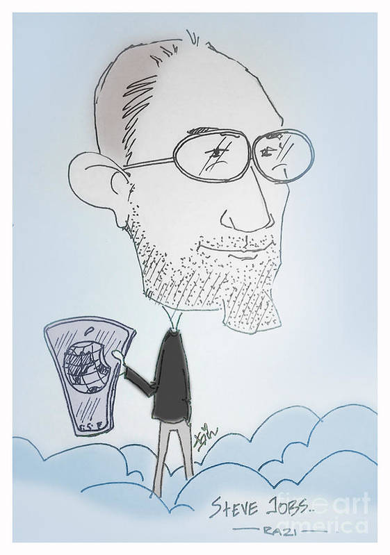 Caricature Art Print featuring the mixed media Apple Jobs by Razi P
