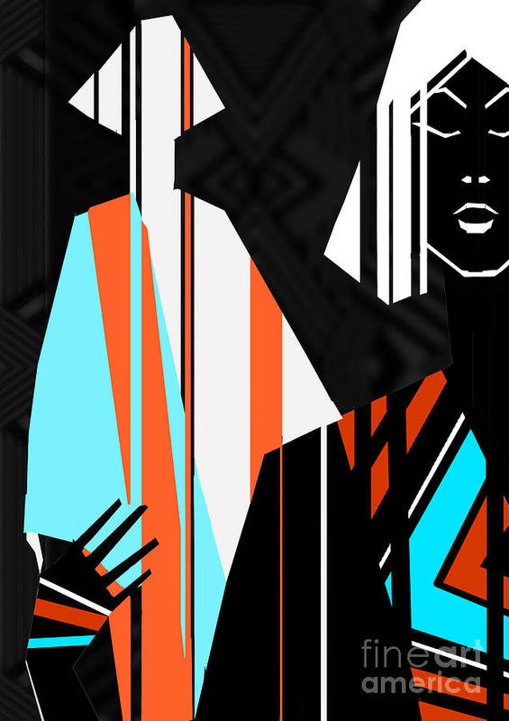 Dress Art Print featuring the digital art Artistic Fashion Colorful Illustration by Alina Shakhovets