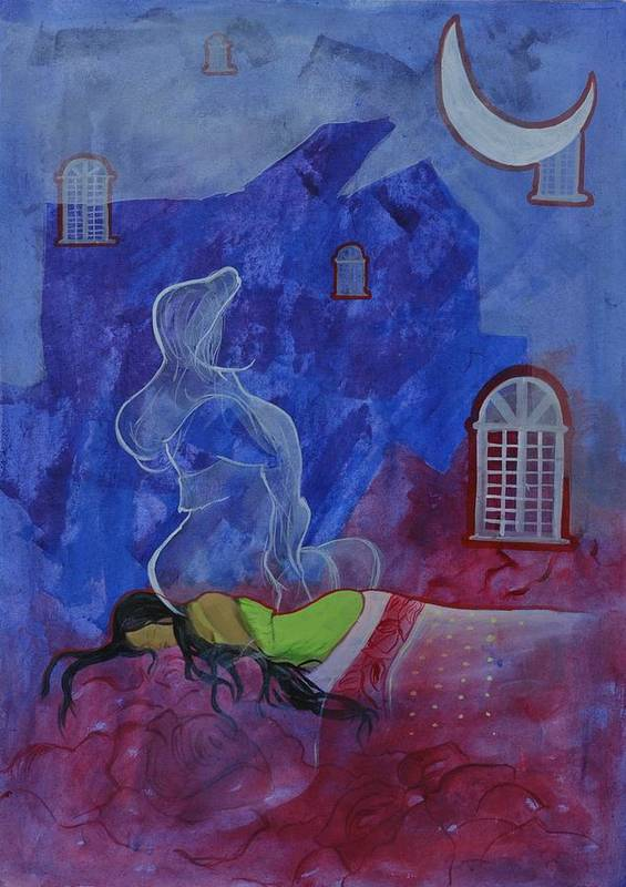 Dream Art Print featuring the painting At Mid Night by Gayatri Sharma