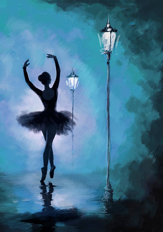 Ballet Dancer Art Print featuring the painting Ballet In The Night by Corporate Art Task Force