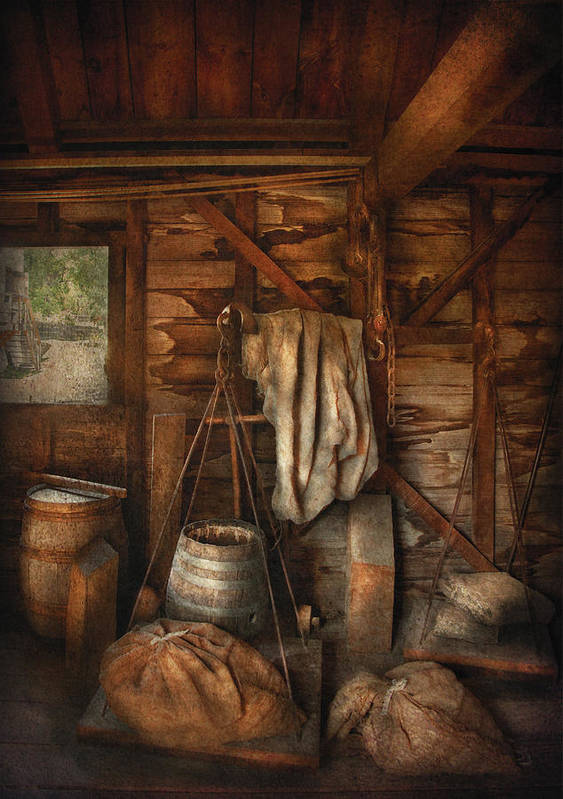 Savad Art Print featuring the photograph Bar - Weighing The Hops by Mike Savad