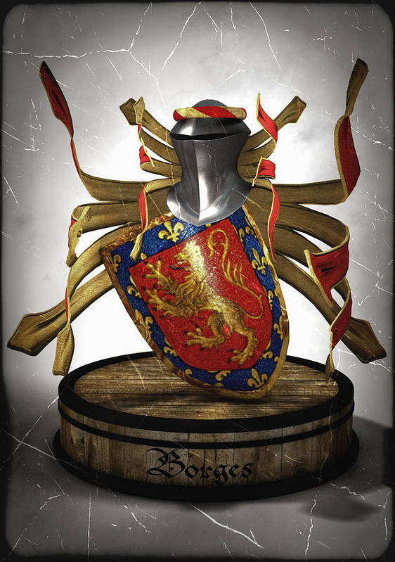 Medieval Art Print featuring the digital art Borges Family Coat Of Arms by Frederico Borges