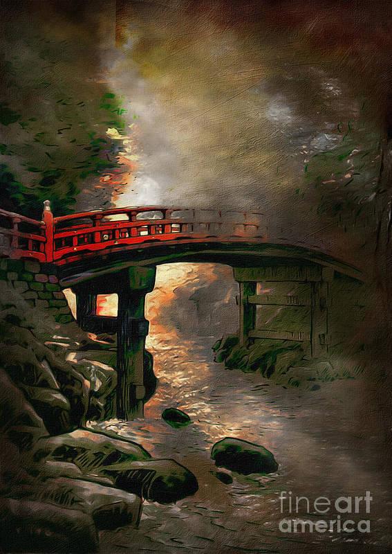 Japan Print featuring the digital art Bridge by Andrzej Szczerski