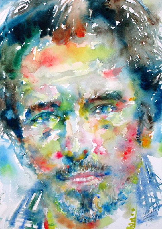 Bruce Print featuring the painting Bruce Springsteen Watercolor Portrait.1 by Fabrizio Cassetta