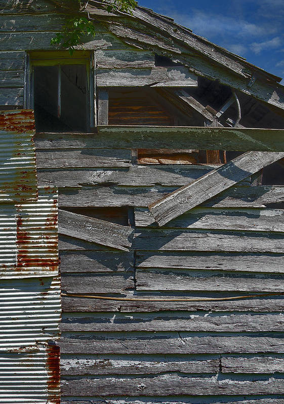 There Are Many Layers Of Material On This Old House. Art Print featuring the photograph Building Materials by Murray Bloom
