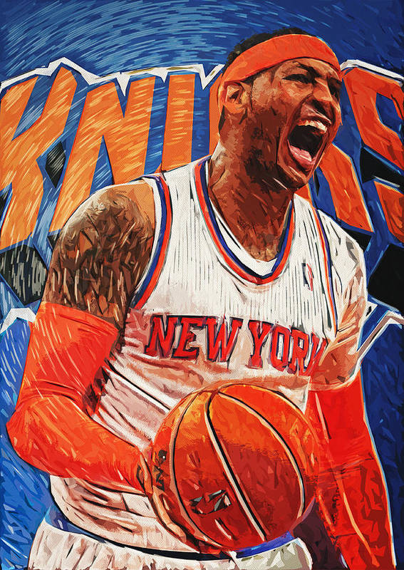 Carmelo Anthony Print featuring the digital art Carmelo Anthony by Taylan Apukovska