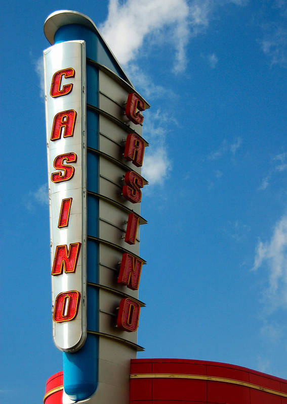 Casino Art Print featuring the photograph Casino Sign by Norman Pogson