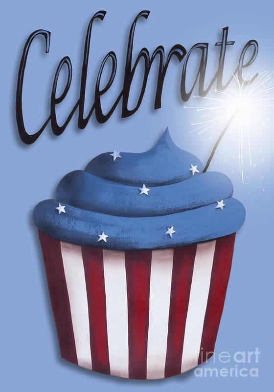 Art Print featuring the painting Celebrate The 4th / Blue by Catherine Holman