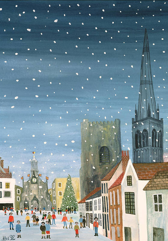 Winter; Snowy; Snowing; West Sussex; Gothic Architecture; Ecclesiastical; Christmas Tree; Festive Season; Crowd; Community; City; Spire; Nocturne; Naive Print featuring the painting Chichester Cathedral A Snow Scene by Judy Joel