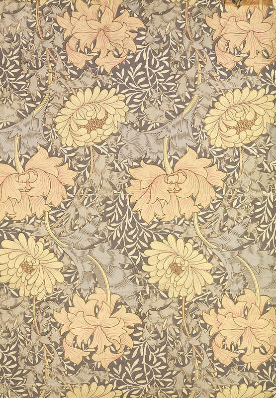 Arts And Crafts Movement Art Print featuring the tapestry - textile Chrysanthemum by William Morris