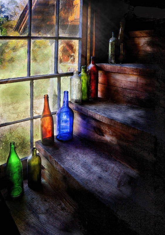 Savad Art Print featuring the photograph Collector - Bottle - A Collection Of Bottles by Mike Savad