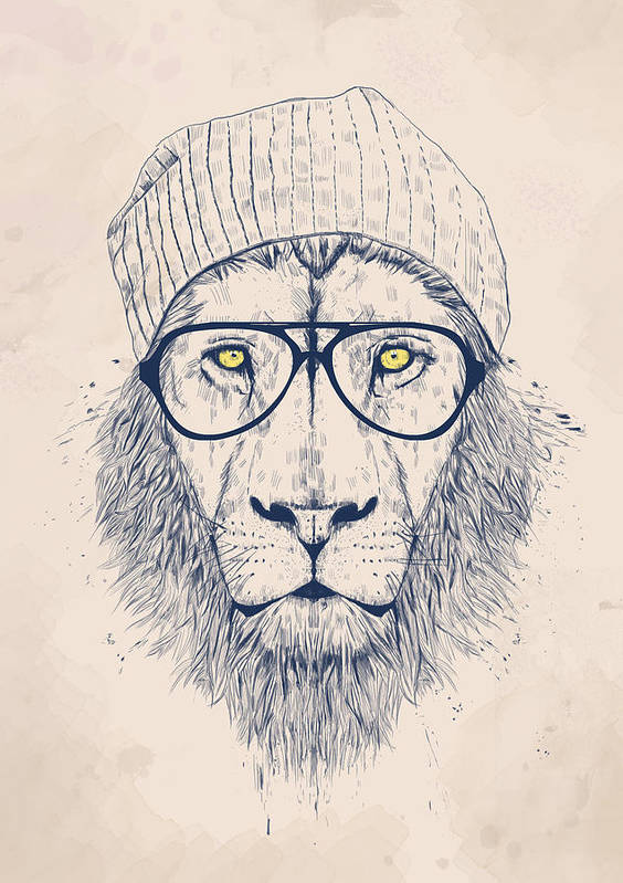 Lion Art Print featuring the digital art Cool Lion by Balazs Solti