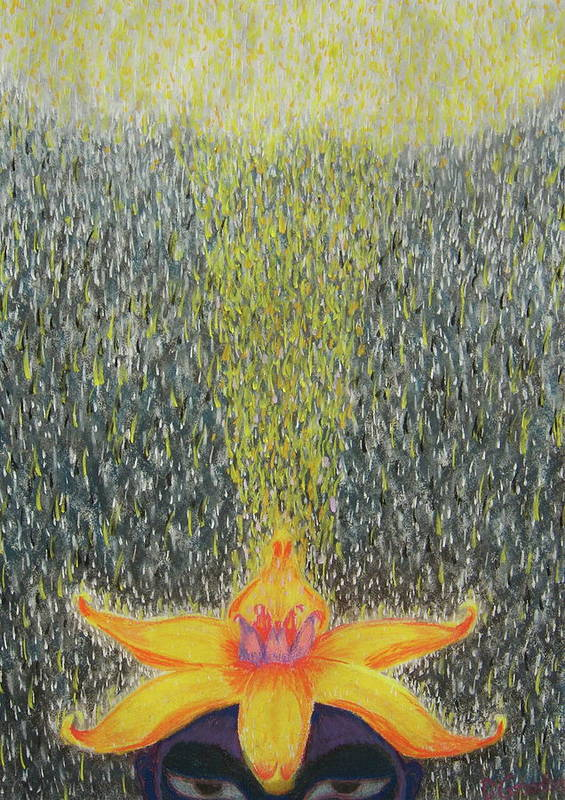 Rain Art Print featuring the pastel Crown3 by Dennis Goodbee
