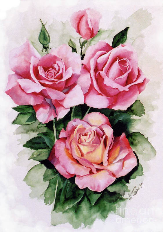 Roses Art Print featuring the painting Dainty Ladies by Suzanne Schaefer