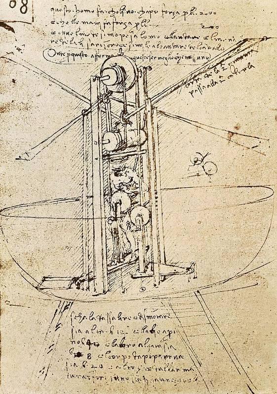 Vertical Art Print featuring the photograph Drawing By Leonardo Da Vinci.. Flying by Everett