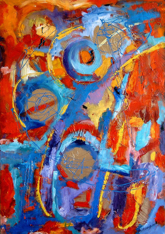 Abstract Art Print featuring the painting Drumul Stelelor by Elena Bissinger