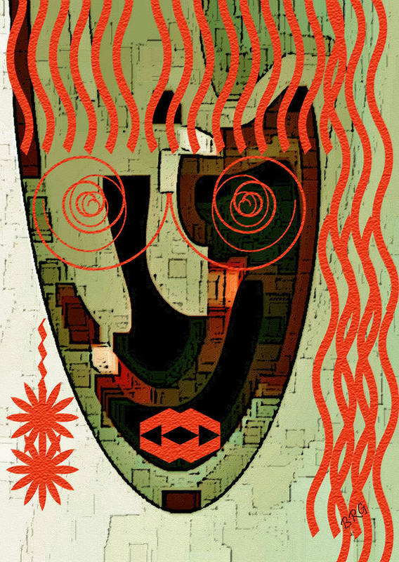 Abstract Face Art Print featuring the digital art Earthy Woman by Ben and Raisa Gertsberg