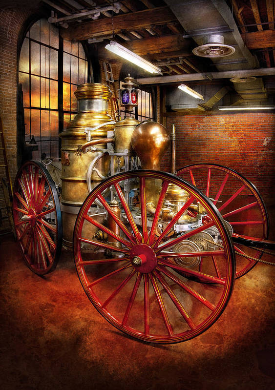 Suburbanscenes Art Print featuring the photograph Fireman - One Day A Long Time Ago by Mike Savad