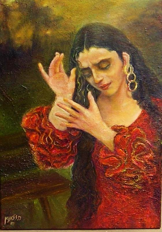 Dance Art Print featuring the painting Flamenfo Girl 2 by Sylva Zalmanson