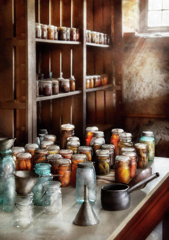Suburbanscenes Art Print featuring the photograph Food - The Winter Pantry by Mike Savad