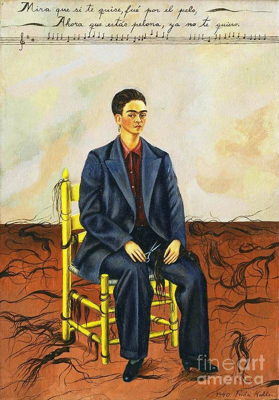 Reproduction Art Print featuring the painting Frida Kahlo Self-portrait With Cropped Hair Autorretrato Con Pelo Cortado by Pg Reproductions