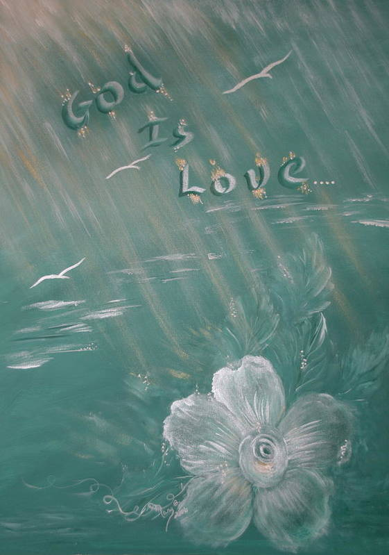 Christian Art Art Print featuring the painting God Is Love by Mary Grabill