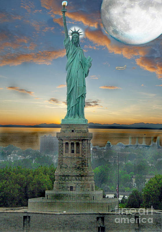 Statue Art Print featuring the photograph Goddess Of Freedom by Gary Keesler