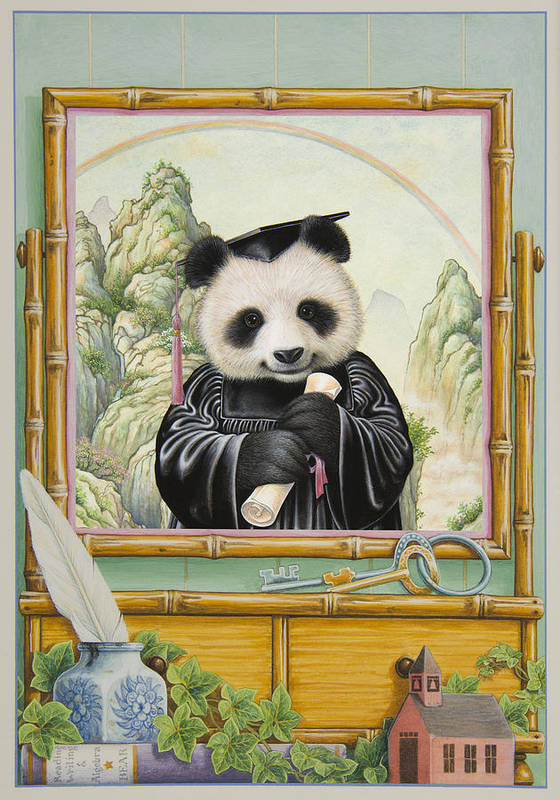 Panda Bear Art Print featuring the painting Graduation Day by Lynn Bywaters