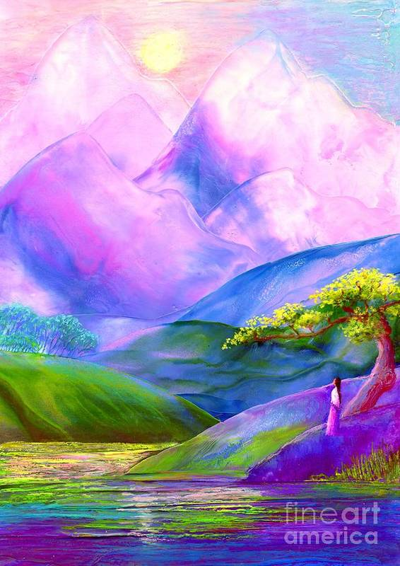 Mountain Art Print featuring the painting Greeting The Dawn by Jane Small