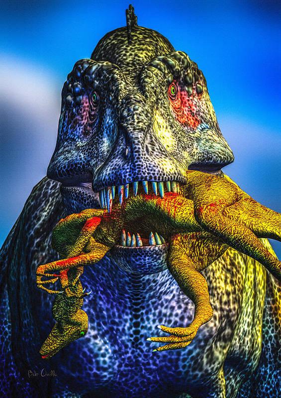 Tyrannosaurus Rex Art Print featuring the digital art Guilty Pleasure by Bob Orsillo