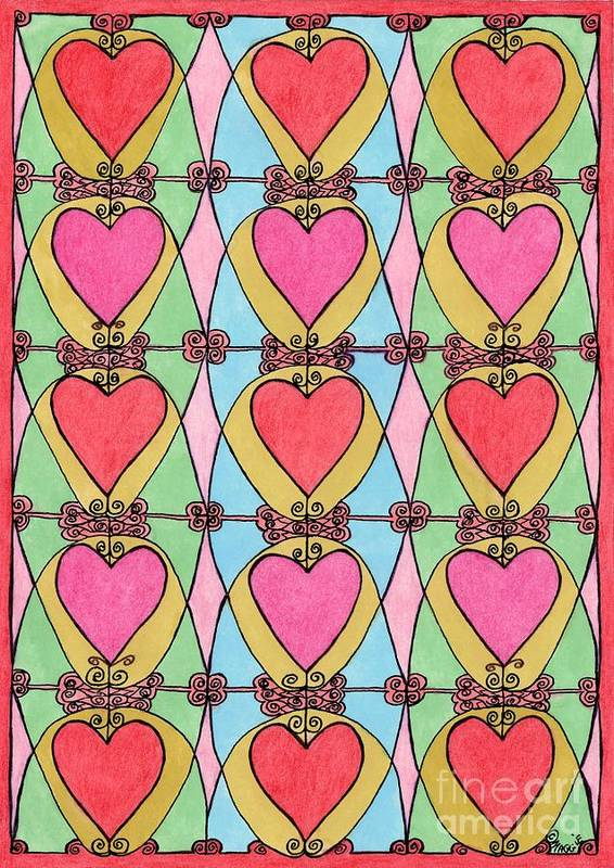 Hearts Art Print featuring the painting Hearts A'la Stained Glass by Mag Pringle Gire