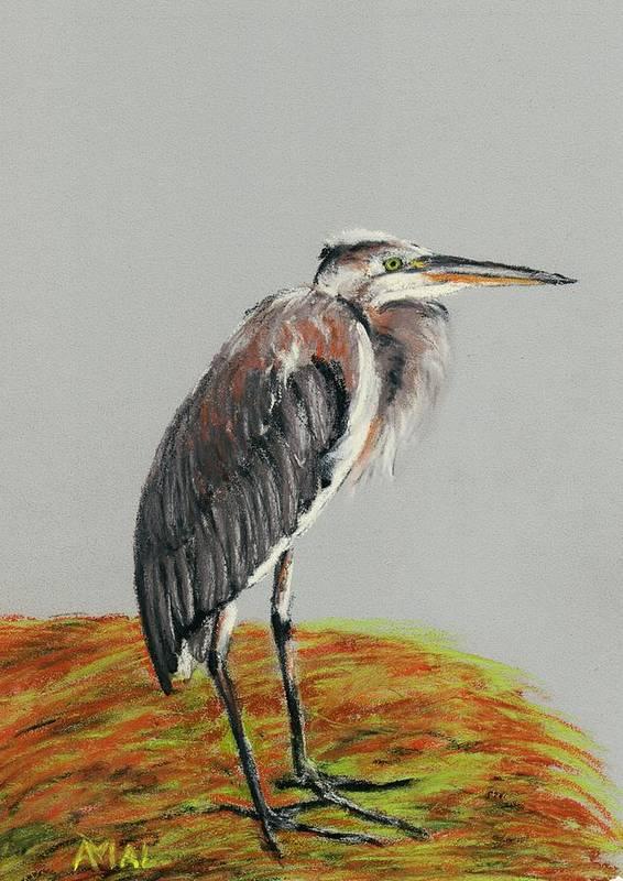 Interior Art Print featuring the painting Heron by Anastasiya Malakhova