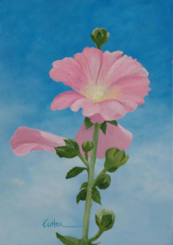 Hollyhock Art Print featuring the painting Hollyhocks by Diane Cutter