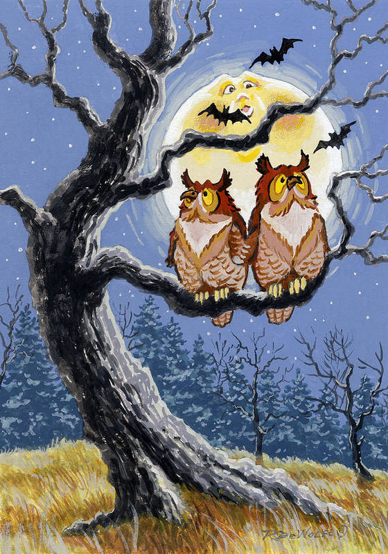 Halloween Art Print featuring the painting Hooty Whos There by Richard De Wolfe