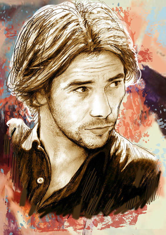 Art Drawing Sketch Portrait Art Print featuring the drawing Jamiroquai - Stylised Pop Art Drawing Potrait Poser Stylised Pop Art Drawing Potrait Poser by Kim Wang