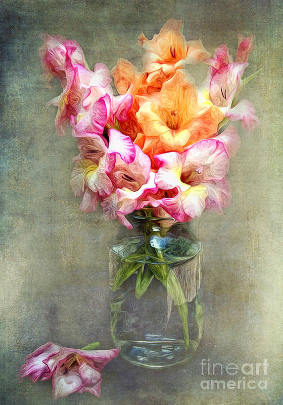 Jar Art Print featuring the photograph Jar Of Gladiolas by Lena Auxier
