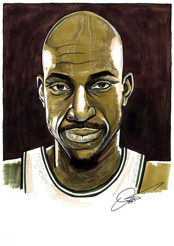 Kevin Garnett Art Print featuring the drawing Kevin Garnett Portrait by Dave Olsen