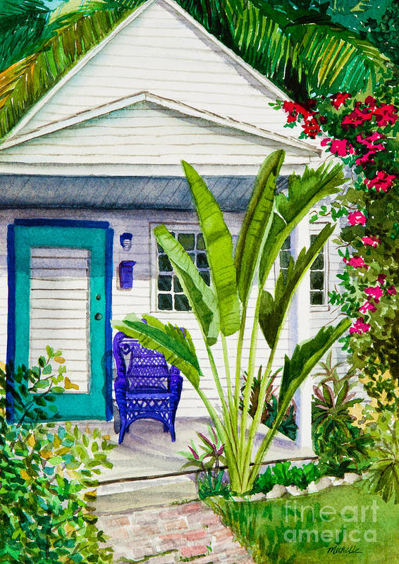 Key West Cottage Art Print featuring the painting Key West Cottage Watercolor by Michelle Wiarda
